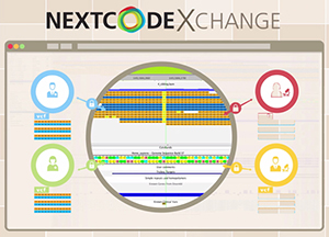 The newly launched NextCODE Exchange provides a browser-based hub for multi-center sharing and collaboration on collective data from massive whole-genome databases like the Haplotype Reference Consortium (HRC).